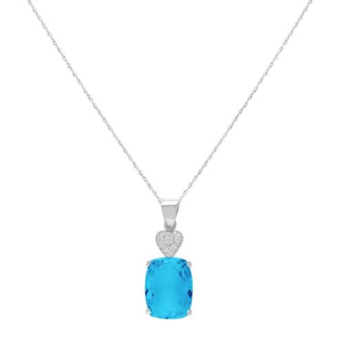 Pingente Coração com 1 Diamante e Topázio Sky Blue, em Prata