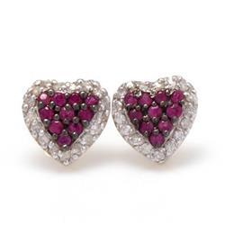 Par de brincos chuveiro coração 10 Rubis e Diamantes em ouro amarelo 18 kilates