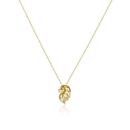 Corrente com Pingente Leão com Zircônias em Ouro Amarelo 46e29fc046