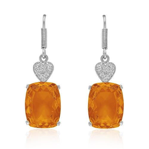 Par de Brincos Corações com 2 Diamantes e Citrino, em Prata