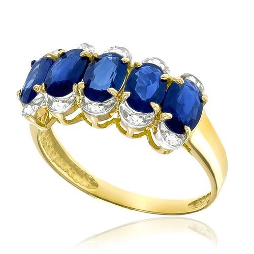 Meia Aliança com 10 Diamantes e 5 Safiras Totalizando 2,7 Cts, em Ouro Amarelo