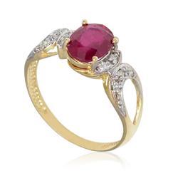 Anel com Rubi de 1¸0 Cts e 8 Diamantes em Ouro Amarelo