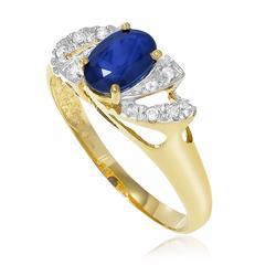 Anel com Safira de 1¸0 Cts e 8 Diamantes em Ouro Amarelo