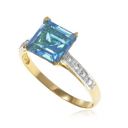 Anel Trabalhado com 8 Diamantes e Topázio azul Sky Blue¸ em Ouro Amarelo