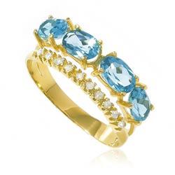 Anel com 10 Diamantes e 4 Topázios Azuis totalizando 1¸6 Cts.¸ em Ouro Amarelo