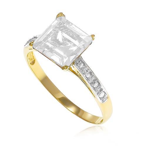Anel Trabalhado com 8 Diamantes e Cristal¸ em Ouro Amarelo