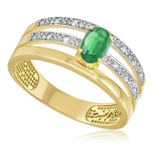 Anel com Esmeralda e Diamantes em Ouro Amarelo