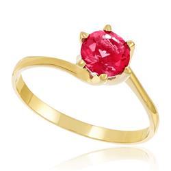 Anel Solitário com Cristal Rosa em Ouro Amarelo