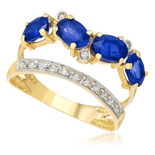 Anel com 14 Diamantes e 4 Safiras Totalizando 2¸20 Cts¸ em Ouro Amarelo