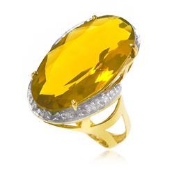 Anel Citrino Oval com 12 Cts e 10 Diamantes em ouro amarelo