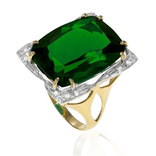 Anel com 12 Diamantes e Blue Green de 12 Cts., em Ouro Amarelo