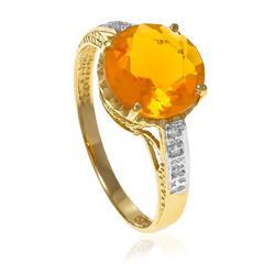 Anel com 6 Diamantes e Citrino Central¸ em Ouro Amarelo
