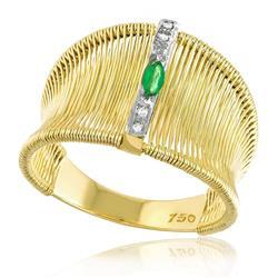 Anel Aramado com 4 Diamantes e 1 Esmeralda Navete¸ em Ouro Amarelo