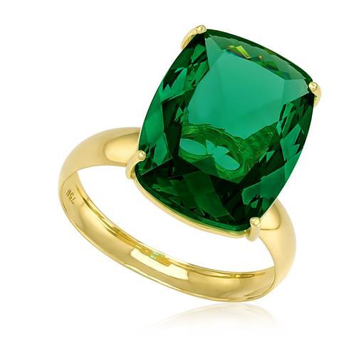 Anel com Blue Green Retangular de 8 Cts em Ouro Amarelo