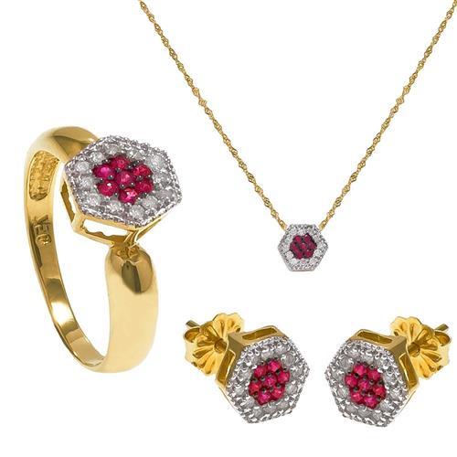 Conjunto chuveiro de Rubis e diamantes em ouro amarelo¸