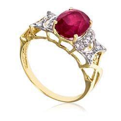 Anel com 14 Diamantes e Rubi Central de 3¸5 Cts.¸ em Ouro Amarelo