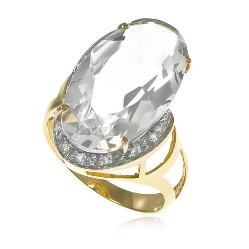 Anel com 10 Diamantes e Cristal de 11 Cts¸ em Ouro Amarelo