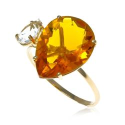Anel Gotas com Cristal e Citrino¸ em Ouro Amarelo