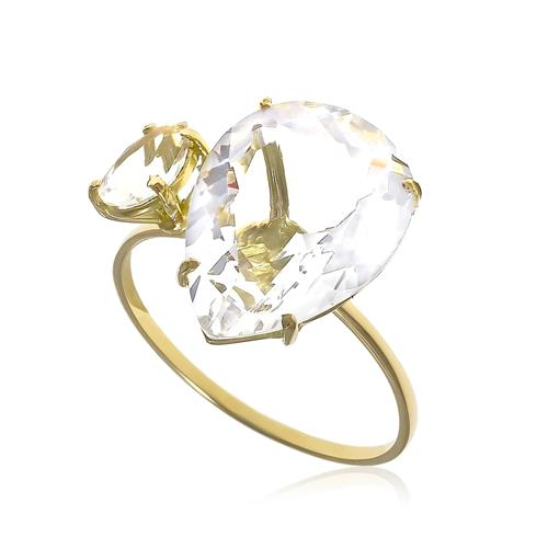 Anel Gotas com Cristal e Cristal de Turmalina Paraíba em Ouro Amarelo