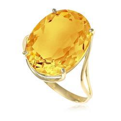 Anel com Citrino Oval, em Ouro Amarelo