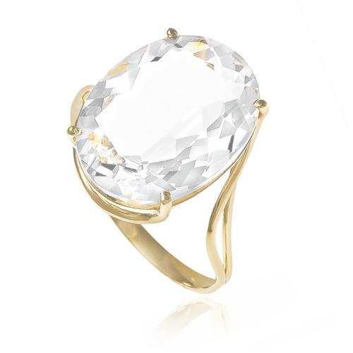 Anel com Cristal de Rocha Oval, em Ouro Amarelo