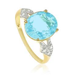 Anel com 6 Diamantes e Topázio Azul Sky Blue Oval, em Ouro Amarelo