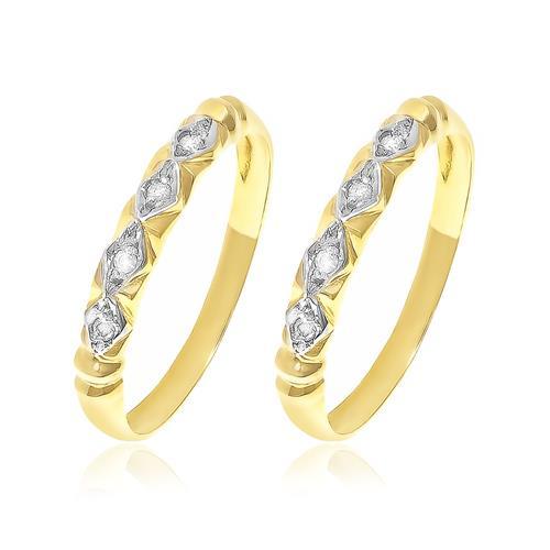 Par de Aparadores com 8 Diamantes, em Ouro Amarelo