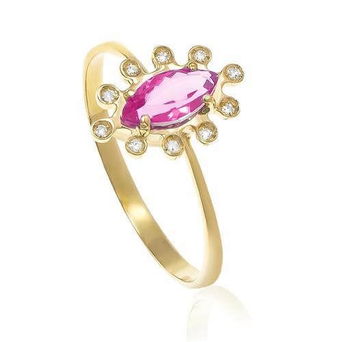 Anel com Cristal de Turmalina Rosa Navete e 10 Diamantes, em Ouro Amarelo