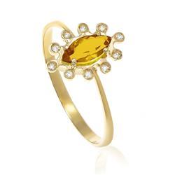 Anel com Citrino Navete com 10 Diamantes, em Ouro Amarelo