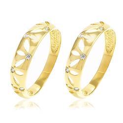 Par de Aparadores com 12 Diamantes, em Ouro Amarelo