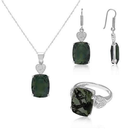 Conjunto com Cristal de Turmalina Verde, em Prata