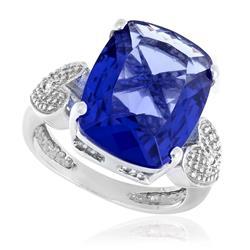 Anel Corações com 2 Diamantes e Cristal de Tanzanita, em Prata