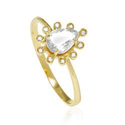 Anel Gota com Cristal com Diamantes em Ouro Amarelo