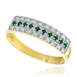 Meia Aliança Tripla com Diamantes e Esmeraldas, em Ouro Amarelo