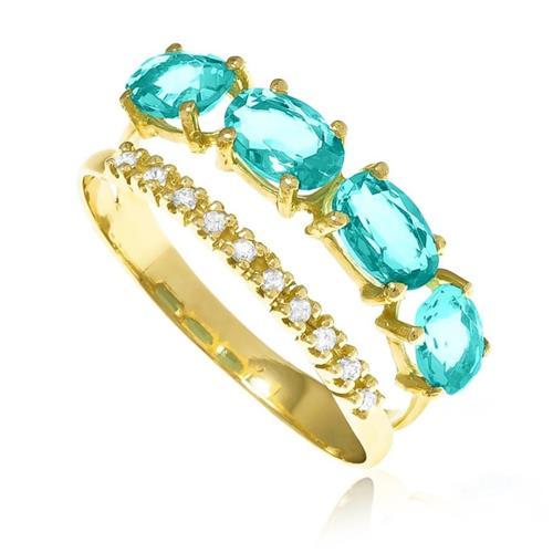 Anel com 10 Diamantes e 4 Cristais de Turmalina Paraíba, em Ouro Amarelo