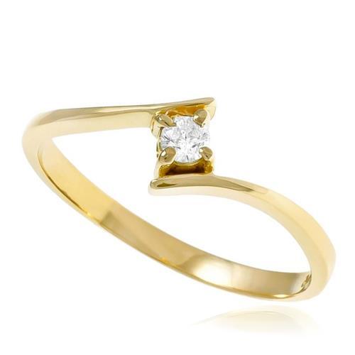 Anel Solitário Cartier com Diamante de 10 Pts¸ Ouro Amarelo