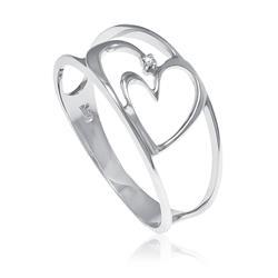 Anel com Coração estilizado e 1 Diamante em ouro branco