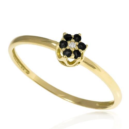 Anel flor em Safira com 1 diamante e ouro amarelo