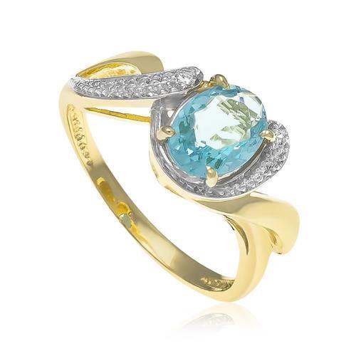 Anel com Zircônias e Cristal de Topázio Sky Blue¸ Folheado a Ouro Amarelo