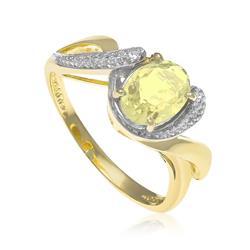 Anel com Zircônias e Cristal de Green Gold¸ Folheado a Ouro Amarelo