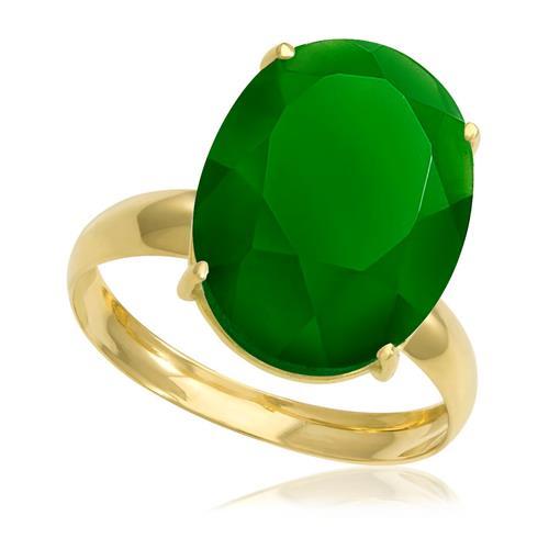 Anel com Jade Oval¸ em Ouro Amarelo