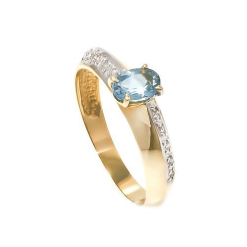 Anel com 10 Diamantes e Topázio Azul de 45 Pts.¸ em Ouro Amarelo