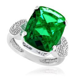 Anel Corações com 2 Diamantes e Blue Green, em Prata