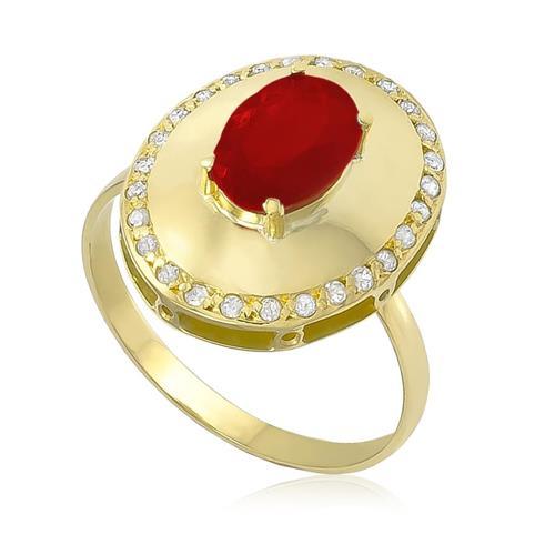 Anel com Oval com Rubi no centro e Diamantes em volta em Ouro Amarelo