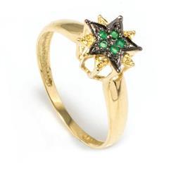 Anel Chuveiro estrela com 5 Esmeraldas em ouro amarelo com Rodio