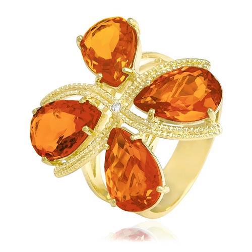 Anel com 1 Zircônia e 4 Cristais Citrino¸ Folheado a Ouro Amarelo