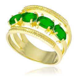 Meia Aliança Tripla com 4 Blue Green, Folheado a Ouro Amarelo