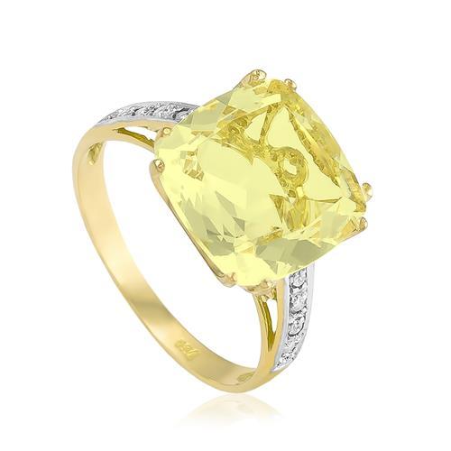 Anel com 8 Diamantes e Green Gold¸ em Ouro Amarelo