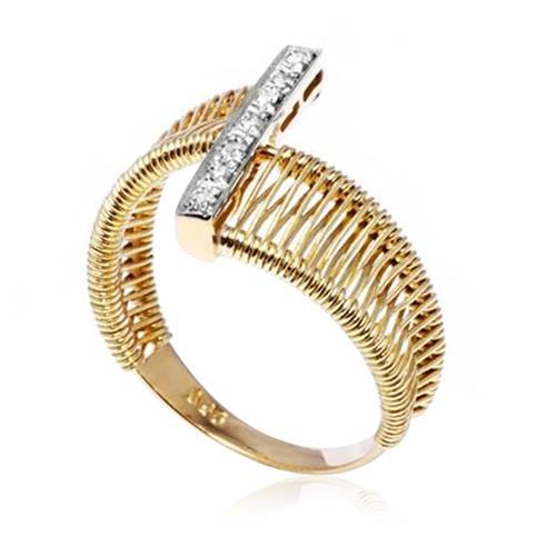Anel Aramado com 7 Diamantes, em Ouro Amarelo