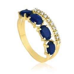 Anel com 10 Diamantes e 4 Safiras Totalizando 3 Cts, em Ouro Amarelo